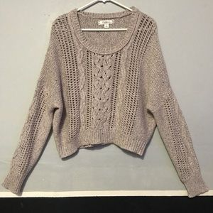 Cable knit cozy sparkly cropped sweater